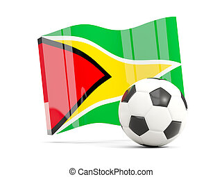 Football with waving flag of guyana isolated on white