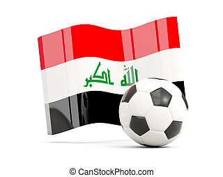 Football with waving flag of iraq isolated on white