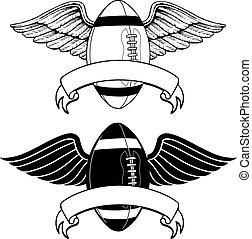 Football With Wings Memorial is an illustration of two...