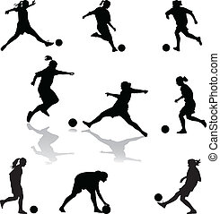 football woman - set of nine female soccer player