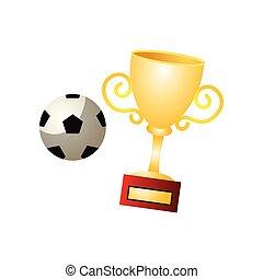 Football world gold cup with soccer ball, brazil winner