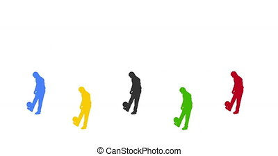 Footballer juggling the ball. Conti - 5 footballers...