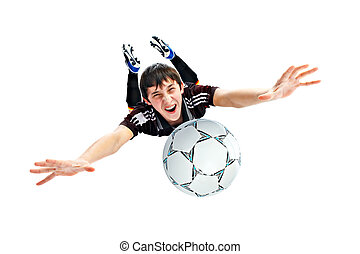 footballer isolated on white background