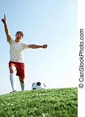 Footballer screaming