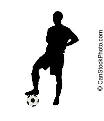 Footballer - Silhouette of the football player on a white...