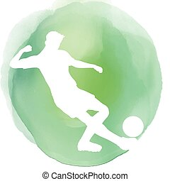 Footballer silhouette on watercolor background