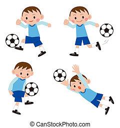 Footballer (soccer player) set, doodle version