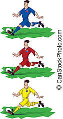 Three images of footballer in popular strip