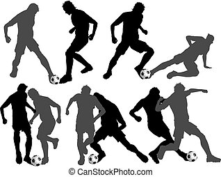 Silhouettes of footballers in various tackling poses