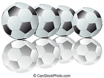 Footballs - Abstract vector illustration of several...