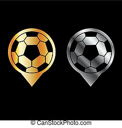 Footballs inside gold and silver