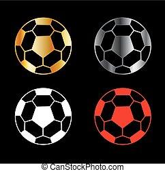 Footballs on black background
