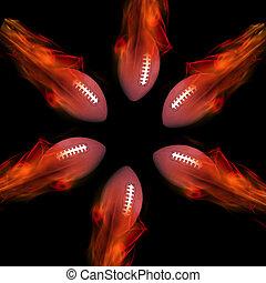 Footballs on Fire.