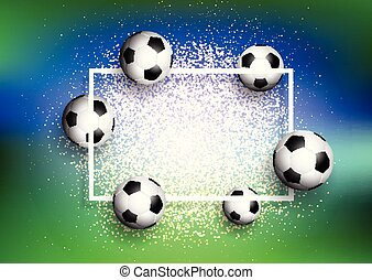 footballs on glitter background with white frame 1505