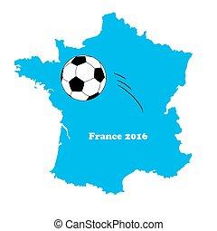 football/soccer, 地図, ボール, ベクトル, フランス
