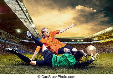 footballspieler, auf, feld, von, stadion