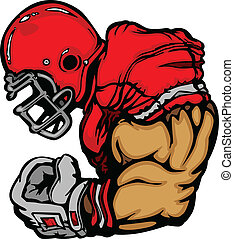 footballspieler, mit, helm, karikatur