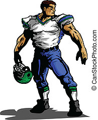 footballuniform, abbildung, spieler, vektor