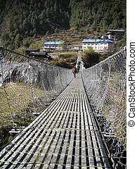 Footbridge - A suspension footbridge along the trail to Mt...