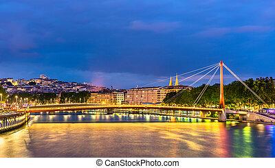 Footbridge across the Saone in Lyon, France