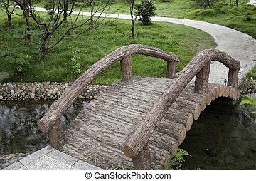 Footbridge and footpath in garden