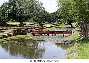 Footbridge and ruins