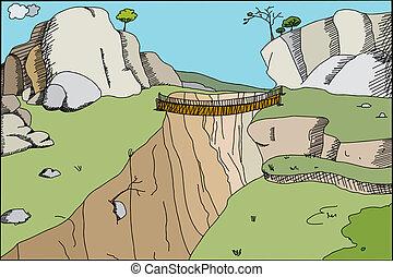 Hand drawn cartoon footbridge across canyon in wilderness
