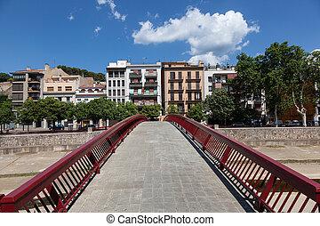 Footbridge in the old town of Girona, Spain