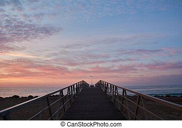 Footbridge in the threat to the Mediterranean Sea