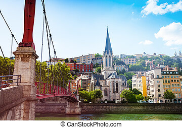 Footbridge leading to St. Georges church in Lyon