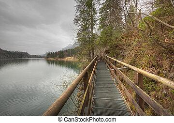Footbridge on the Lake Alpsee