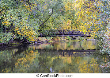footbridge over a river in fall scenery - Cache la Poudre...