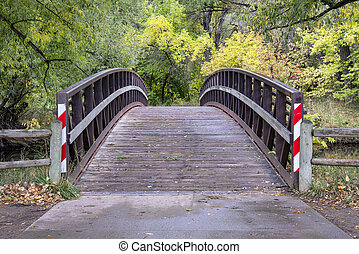 footbridge over a river in fall scenery - Cache mla mPoudre...
