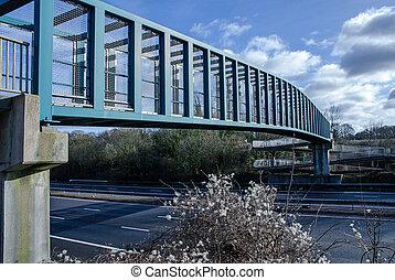 Footbridge over the M3 seen in winter, Hampshire