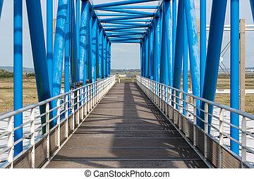 Footbridge over tollbooth near Pont de Normandie in France