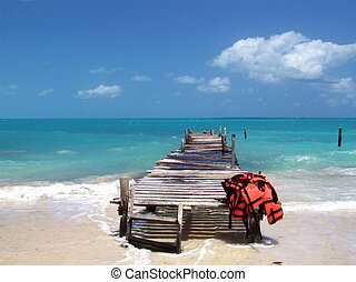 Footbridge over turquoise ocean - Footbridge on a Caribbean ...