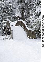 Footbridge, Snowy Landscape, Gatlinburg, Tennessee