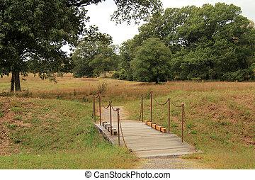 Footbridge at the Yorktown National Military Park in...