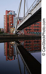 Footbridge with the reflection