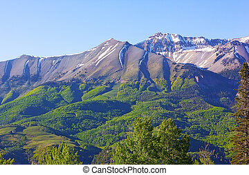 Picturesque view on high mountains and foothills in summer of Telluride, Colorado, USA