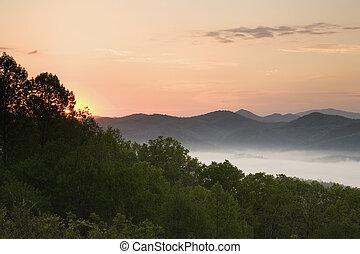 foothills, parkway, em, amanhecer