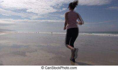 footing woman on beach