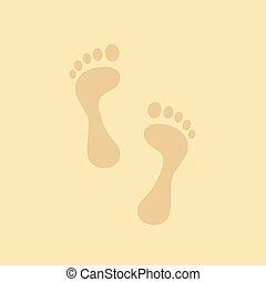 footmark footprint on sand background vector illustration EPS10