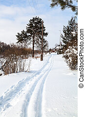 path and ski run along little russian village