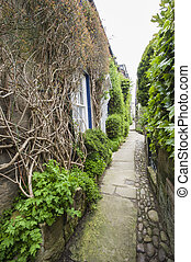 Footpath between old english country cottages in village