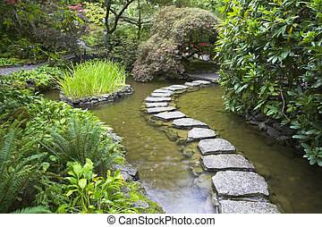 Footpath from stones. - A footpath from stones laid with ...