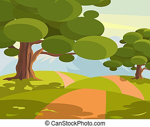 Footpath in a meadow with trees. Vector illustration.