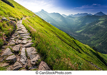Footpath in the mountains at sunrise