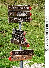 Footpath signpost in the Austrian Tyrol