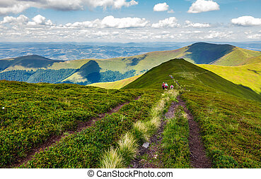 footpath through Borzhava mountain ridge in summer. group of...